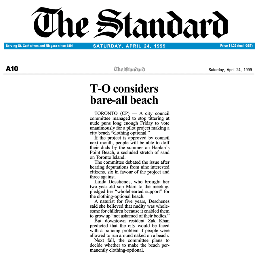 St Catherines Standard 1999-04-24 - Committee OKs Hanlan's Point CO-zone